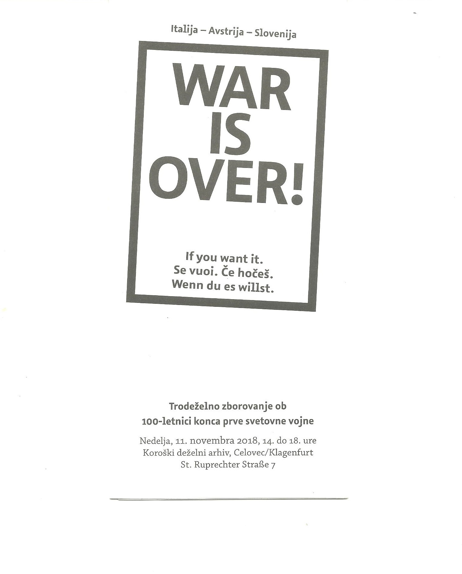 Manifest Alpe-Jadran 1918 – 2018 War is over!